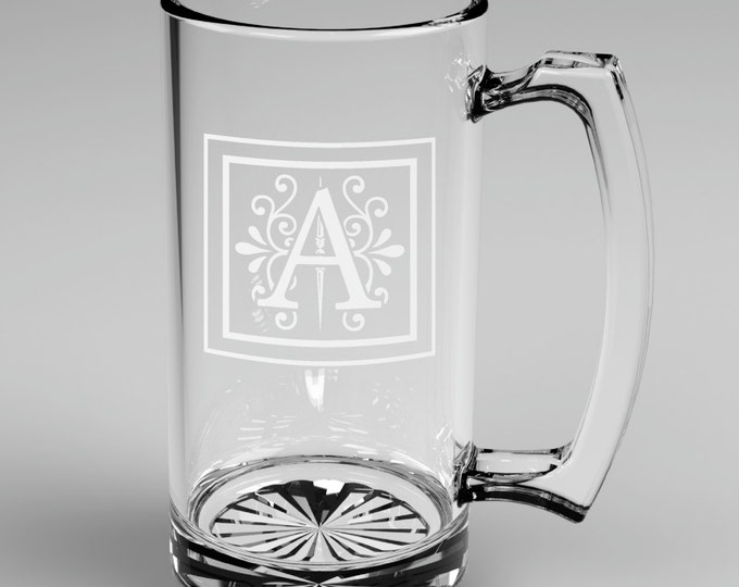 1 Personalized Groomsman Monogram Beer Mug Custom Engraved Wedding Gift.