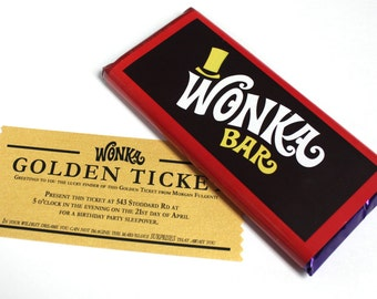 Personalized Golden Ticket Invitation with candy bar labels