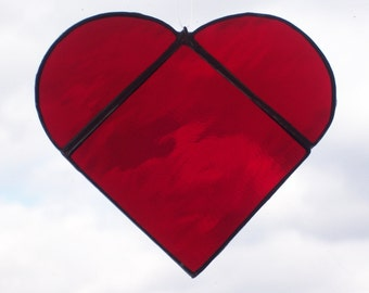 Red Heart Stained Glass Sun Catcher