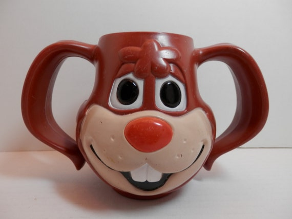 Nestle Quick Bunny Rabbit Brown Hard Plastic Cup Mug 1970 Made