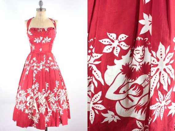 50s Red Hawaiian Dress . Strapless / Halter . by snootieseconds