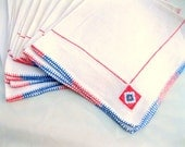 10 vintage napkins.HOLIDAY cream.linen.coral.blue.embroidered.large.dinner.tessiemay