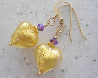 Venetian Glass Hearts Lovin' a Little Plum Accent -- Earrings