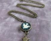 White Bird Swallow Silhouette Glass Pendant Necklace