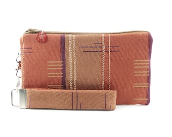 Western clutch - small purse handmade from woven recycled fabric - orange gift set for women includes zipper pouch and wristlet key fob
