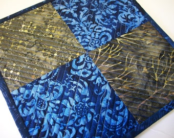 Batik Snack Mat Blue Brown Mug Rug Quilted Coaster Quiltsy Handmade FREE U.S. Shipping