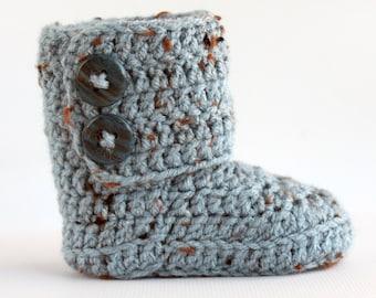 Blue Speckled Crochet Wrap Boots- Choose Your Size