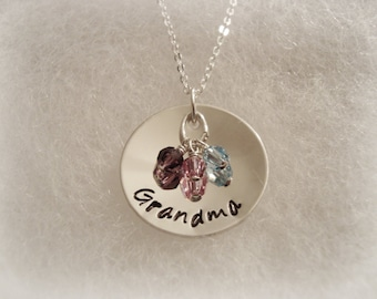 "Nonna Oma Grandma Mother Grandmother Nana Sterling Silver 7/8"" Necklace - 3 Birthstones"