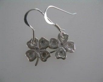 Four Leaf Clover Earrings, Simple Silver Earrings, Charm Silver Earrings, St. Patrick's Day Jewelry, Everyday Earrings, Irish Earrings