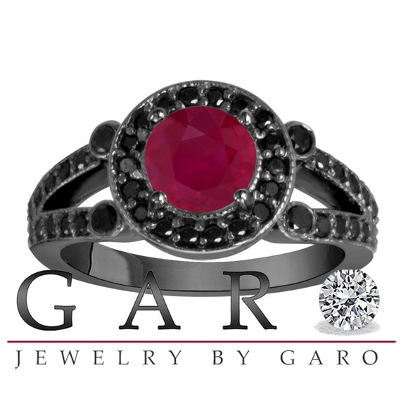 Ruby & Black Diamond Engagement Ring Vintage by JewelryByGaro