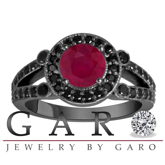 Ruby & Black Diamond Engagement Ring Vintage by JewelryByGaro