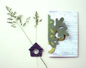 Reusable Card with Corner Bookmark - blank paper insert, paper cut, handmade, birdhouse.
