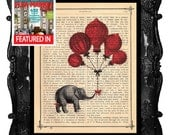 Balloons Elephant a gift book print - Elephant a gift - collage Printed on vintage dictionary book page