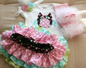 Owl birthday outfit includes bodysuit headband tutu leg warmers and all around ruffle bloomers skirt
