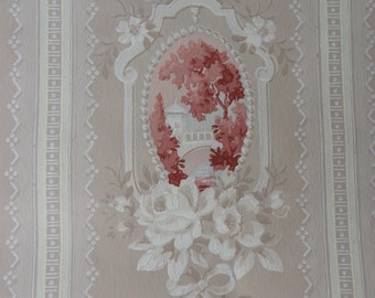 Vintage Wallpaper - White Roses Cameo on Beige 1940s - 1 Yard