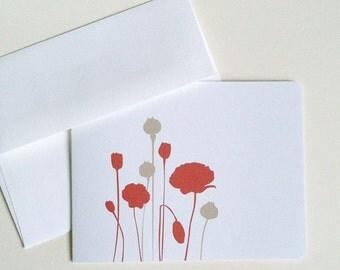 Modern Poppies Notecards
