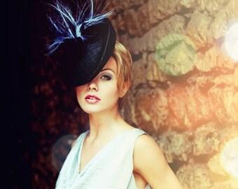 Summer Black Straw - Free Bag - Royal Ascot Saucer Hat Royal Derby Races Light Weight Headpiece Summer Wedding Bridal Shower Women Accessory