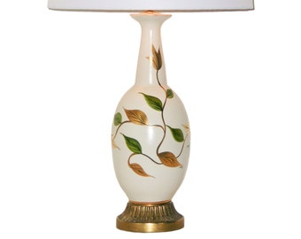 Hollywood Regency Lamp . Hand-Painted Porcelain in Green and Gilt