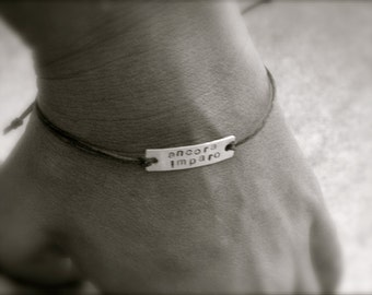 Personalized Stamped Waxed Linen Bracelet - Create Your Own