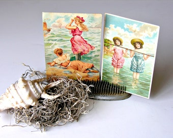 Vintage Postcard Set Bathing Beauty Postcards Instant Collection Altered Art Collage Beautiful Women Swimsuits