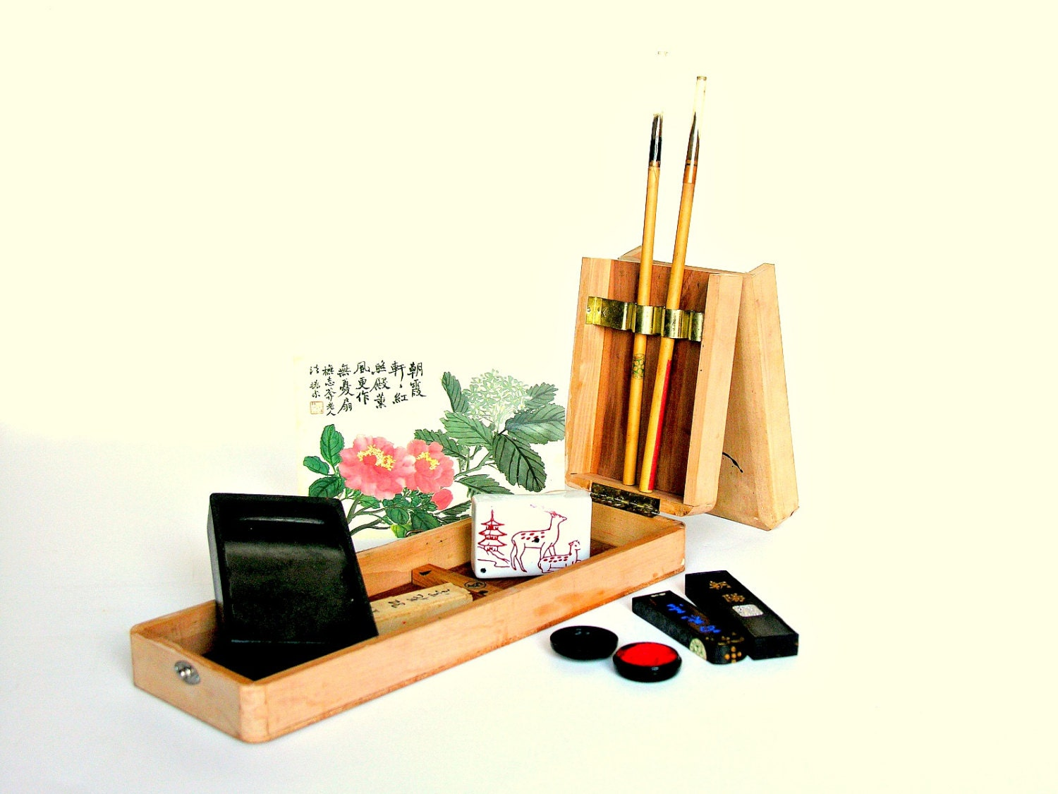 Vintage japanese calligraphy writing set in wooden box case Calligraphy writing set