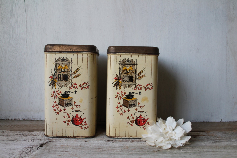 vintage farmhouse kitchen canisters sugar flour canisters. Black Bedroom Furniture Sets. Home Design Ideas