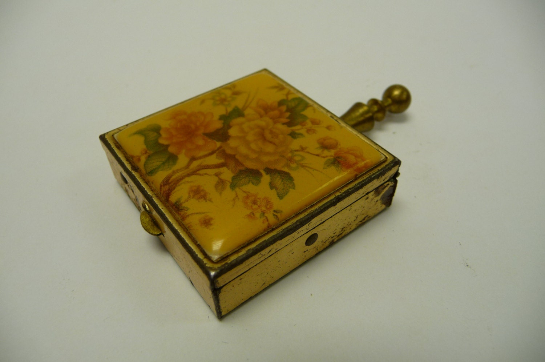 Vintage Pocket Ashtray Brass Handle Botanical By Salvagerelics