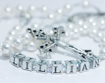 Personalized Rosary in Pearl & April birthstone