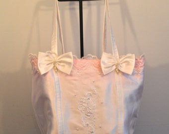 Pretty in pink satin lace and beaded brides bag bridal tote
