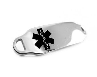 Black Medical Alert ID Plate for Beaded Bracelets, Custom ENGRAVED FREE - i2C