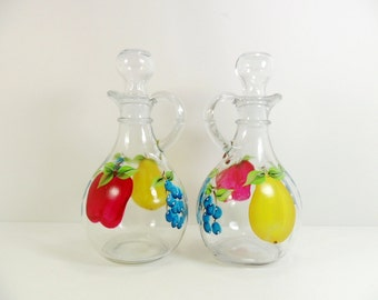 Cruets / Olive Oil Vinegar Bottle Hand Painted Apple Pear Blueberries