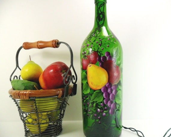 Lighted Wine Bottle Fruit Grapes Apple Pear Strawberries Hand Painted Recycled