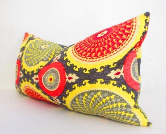 Bohemian Chic Decorative Designer Pillow Cover, Long Lumbar Pillow, Black, Red, Mustard Yellow Cushion, Black Pillow, Charcoal Gray