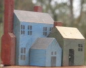 Folk  Blocks Houses Church Cottage Blue Red Gray Toy