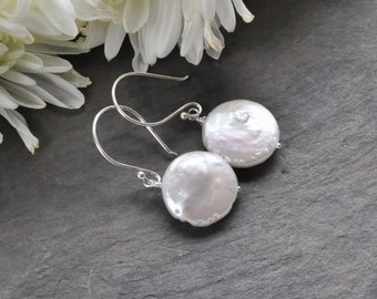 White Fresh Water Coin Pearl Dangle Drop Earrings,Bridesmaid or Birthday Gift, Wedding Bridal Jewelry, Round Coin shape Pearl Earrings