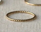 Recycled 14k Yellow Gold Twisted Wire Ring - Beauty Of Timeless Simplicity