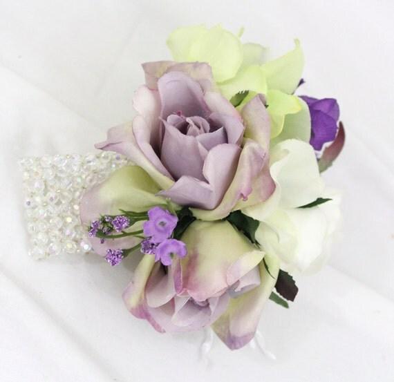 White Purple Rose Wrist Corsage Prom Wedding