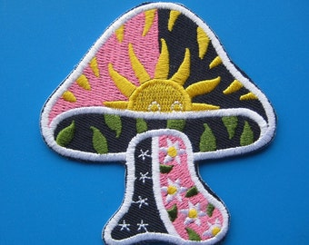 SALE~ Iron-On embroidered Patch Mushroom 3 inch
