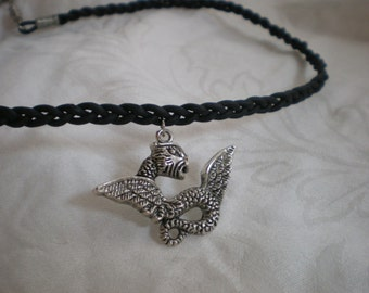 Braided Leather Necklace with silver dragon fantasy medieval serpant geekery black leather