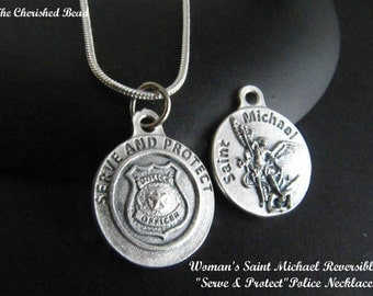 Catholic Saint Michael Medal Necklace for Police Officers - For Woman