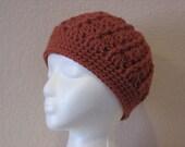 Womens-girls chunky crochet cloche hat-cinnemon color