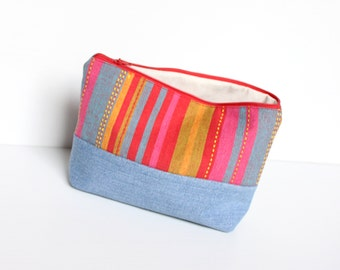 SALE - Colorful Retro Recycled Jeans Cosmetic Bag, Cotton Zipper Make Up Pouch, Everyday Purse