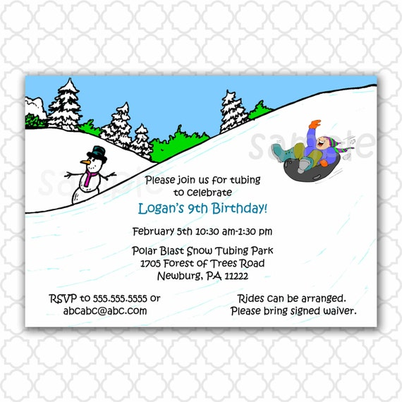 Snow Tubing Invitations as Inspirational Layout To Create Elegant Invitations Card