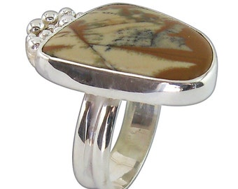 Owyhee Picture Jasper Ring set in Sterling Silver, Size 7-3/4  r775pje2136
