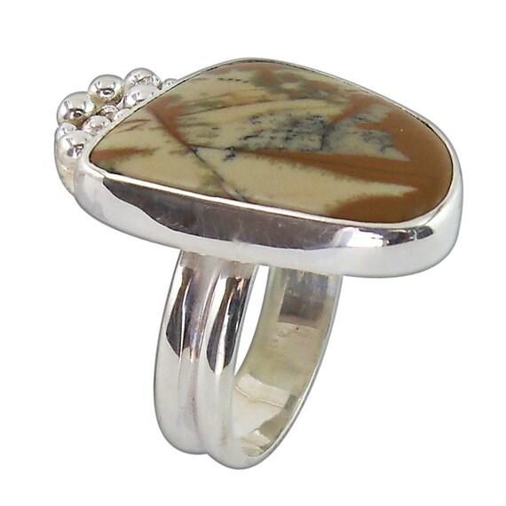 Owyhee Picture Jasper Ring set in Sterling Silver, Size 7-3/4  r775pje2136