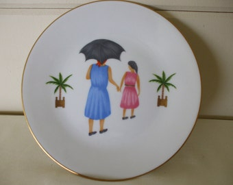 Philippe Deshoulieres TROPICAL SERIES, Saucer,   Woman with Girl , Home Decor