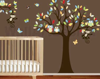 Childrens Wall Decal Tree with patterned leaves monkeys owls birds vinyl wall decals nursery