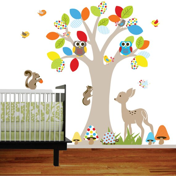 items similar to vinyl wall decal stickers swing tree set with owls birds deer bear. Black Bedroom Furniture Sets. Home Design Ideas