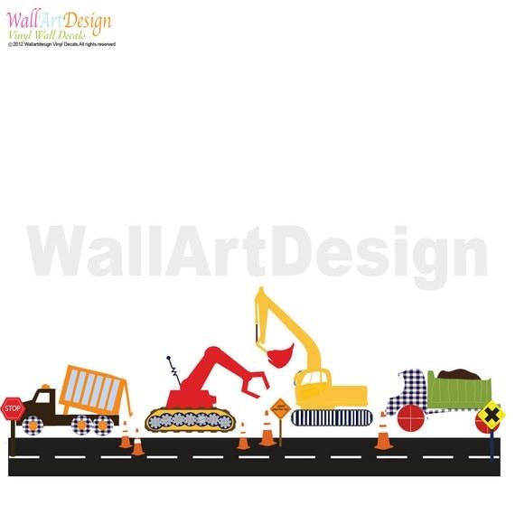 Vinyl Wall Decal  Boys Construction Vehicle Set Vinyl Wall Decal Stickers