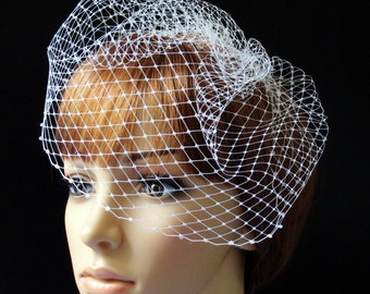 Birdcage Veil Pouf Style Bridal Cap with Beaded Edge White Ivory